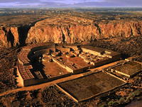 "Artist's conception of Pueblo Bonito, most magnificent of the Chacoan ""Great Houses,"" about 1200 CE"